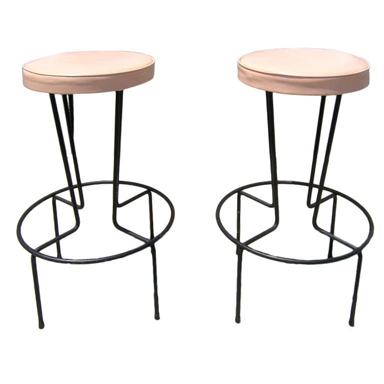 Pair Of Wrought Iron Bar Stools By Frederic Weinberg At
