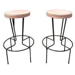 Pair of Wrought Iron Bar Stools by Frederic Weinberg