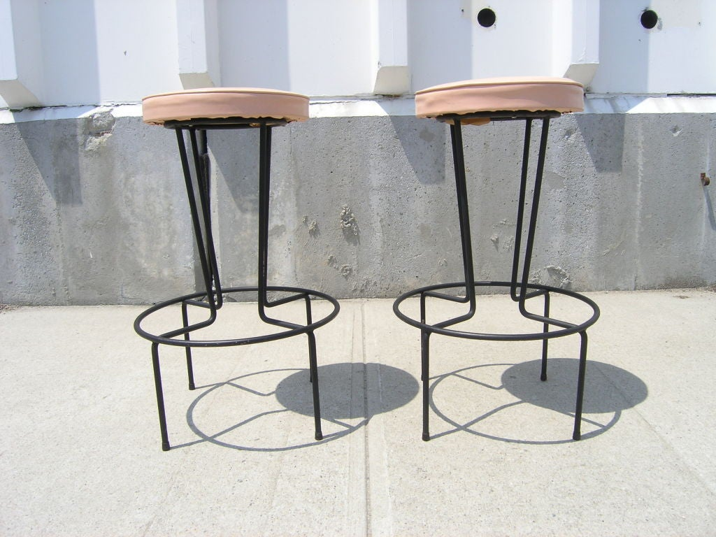 Wrought Iron Bar Stools ~ Pair of wrought iron bar stools by frederic weinberg at
