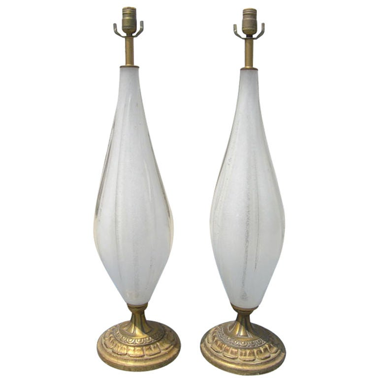 pair of vintage opaline murano glass table lamps for sale. Black Bedroom Furniture Sets. Home Design Ideas