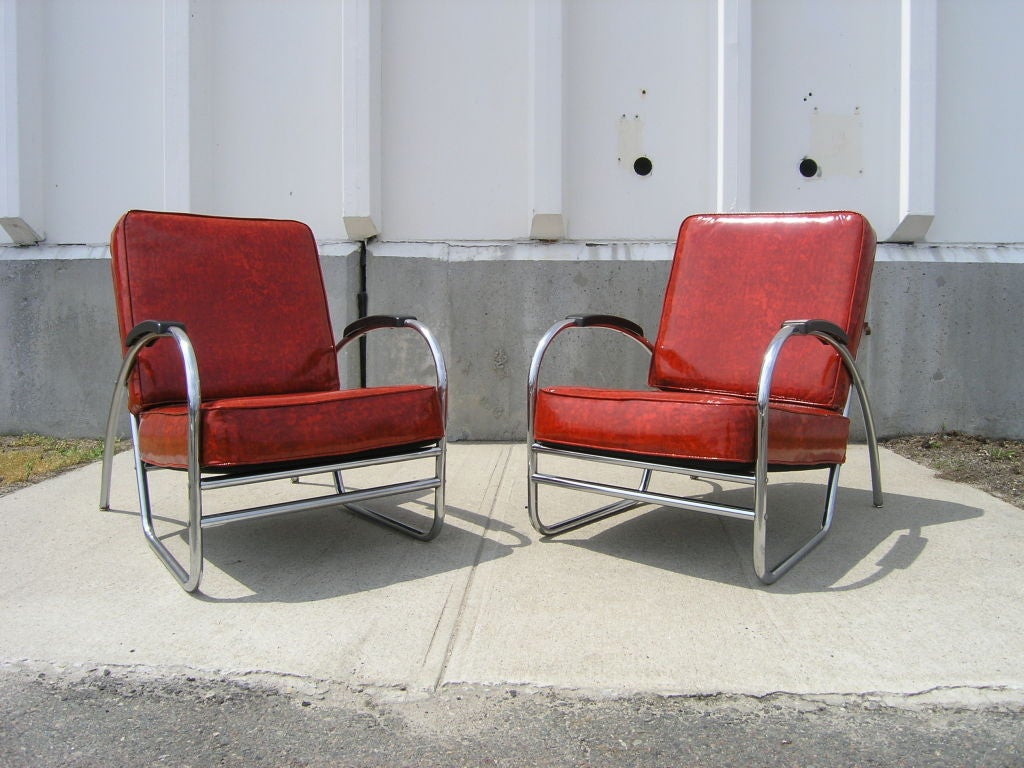 Pair Of Chrome And Red Vinyl Armchairs By Royal Chrome At