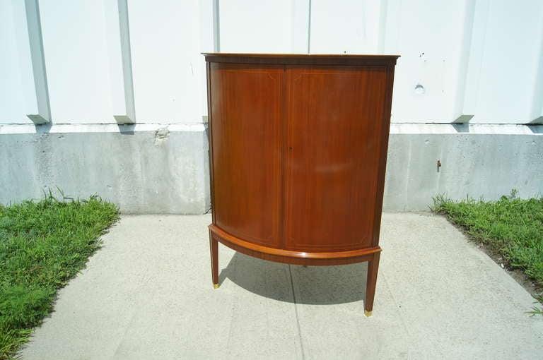 Mid-Century Modern Swedish Cherry Corner Cabinet For Sale