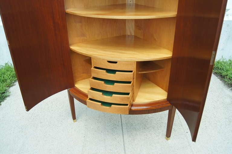 Mid-20th Century Swedish Cherry Corner Cabinet For Sale