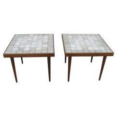 Pair of Danish Teak and Ceramic Tile Side Tables