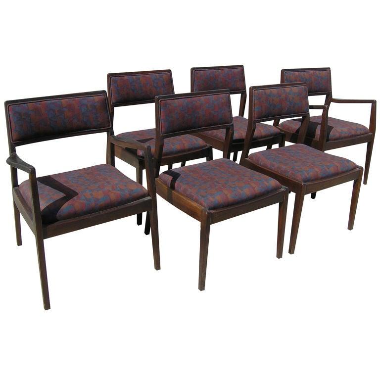 Set of six walnut dining chairs by jens risom at 1stdibs - Jens risom dining chairs ...