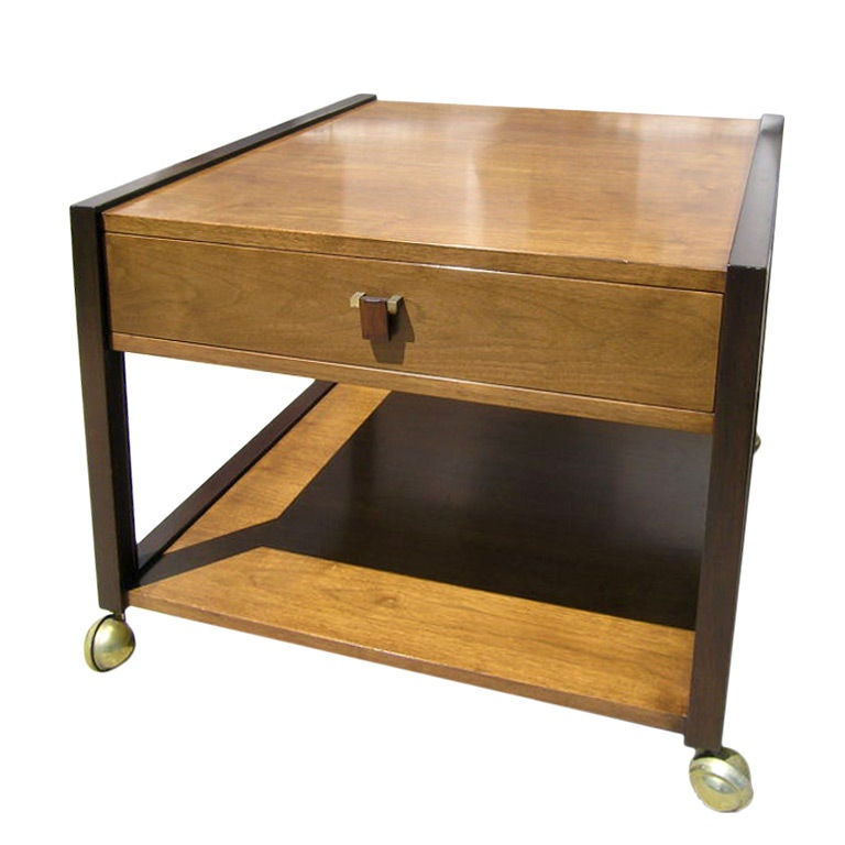 Two-Tone Mahogany Side Table on Brass Casters by Edward Wormley for Dunbar