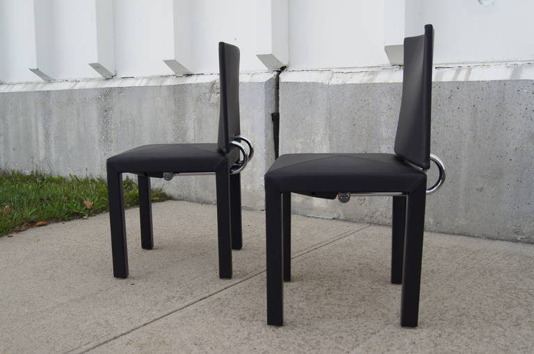 Pair Of Leather Arcadia Side Chairs By Paolo Piva For B B Italia For