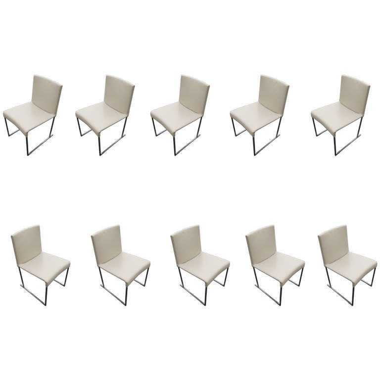 Set of ten solo dining chairs by antonio citterio for b b for B b italia dining room chairs