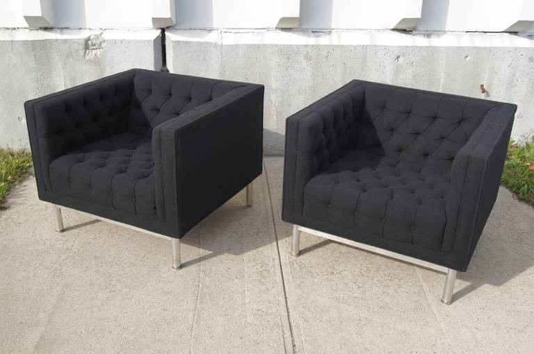 Pair Of Tufted Club Chairs By Jack Cartwright 2