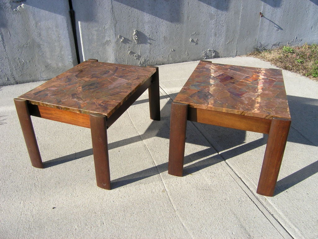 pair of rosewood and copper side tables by percival lafer for sale