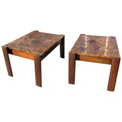 Pair of Rosewood and Copper Side Tables by Percival Lafer