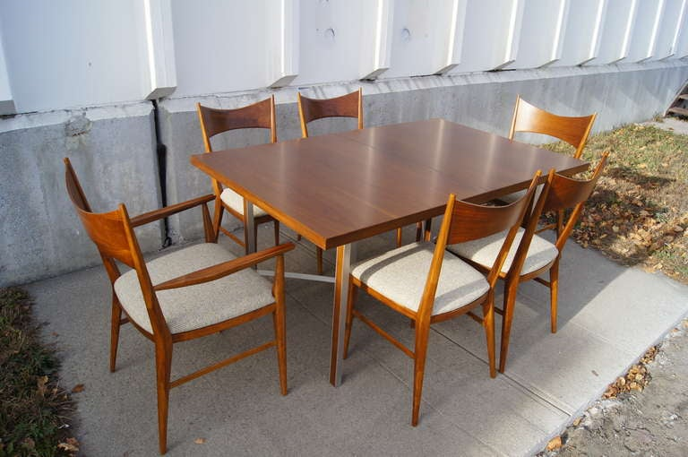 Irwin Group Walnut Dining Table and Six Chairs by Paul McCobb for