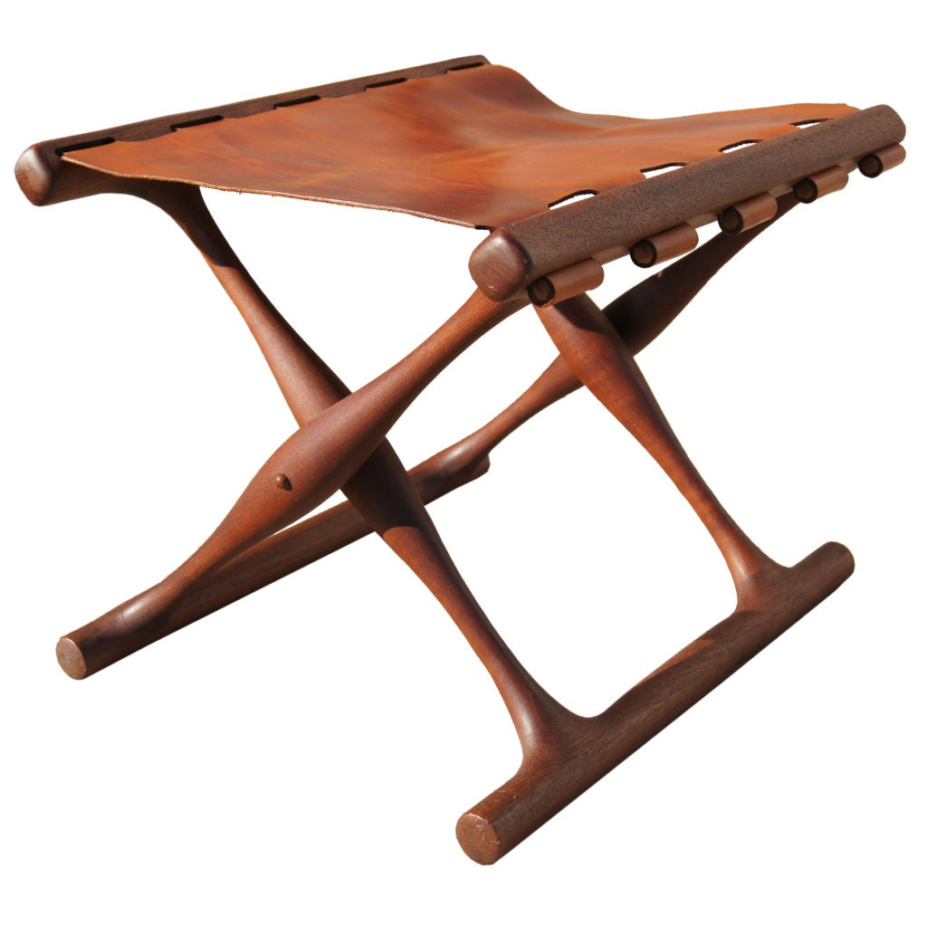 Folding Teak And Leather Stool By Poul Hundevad At 1stdibs