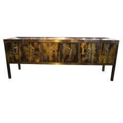 Acid-Etched Brass Sideboard by Bernhard Rohne for Mastercraft