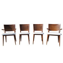 Set of Four Walnut and Rattan Dining Chairs by Widdicomb