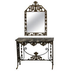 Marble and Bronzed Cast-Iron Console Table with Mirror by Oscar Bach