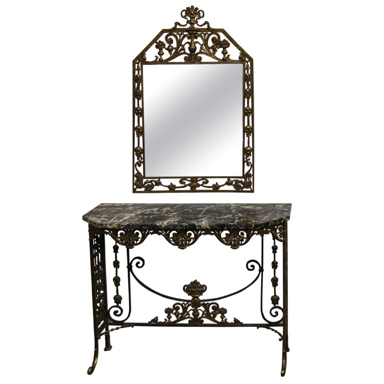 Nice Marble And Bronzed Cast Iron Console Table With Mirror By Oscar Bach 1
