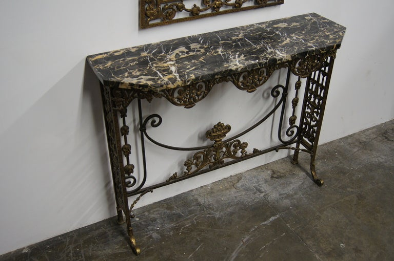 Superior Marble And Bronzed Cast Iron Console Table With Mirror By Oscar Bach 3