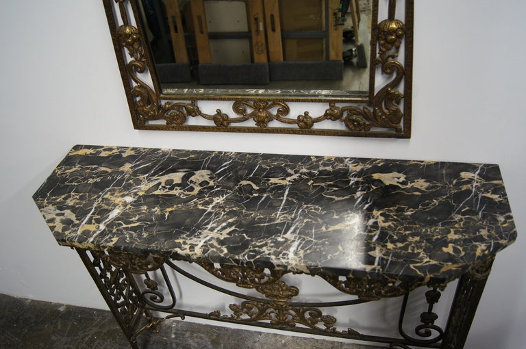 Marble And Bronzed Cast Iron Console Table With Mirror By Oscar Bach 2