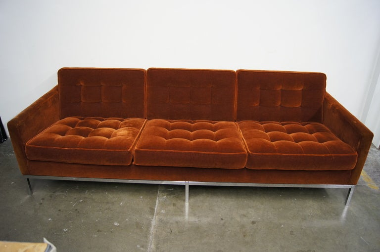Three Seater Sofa In Mohair By Florence Knoll At 1stdibs