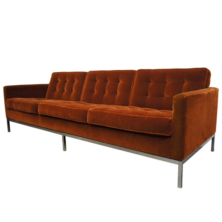 three seater sofa in mohair by florence knoll at 1stdibs. Black Bedroom Furniture Sets. Home Design Ideas