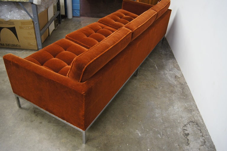 Three Seater Sofa In Mohair By Florence Knoll In Excellent Condition For  Sale In Boston,