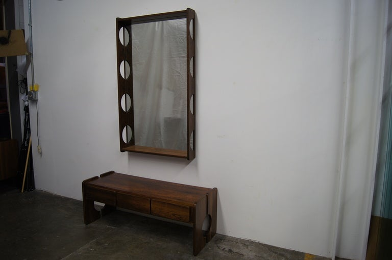 Norwegian Rosewood Console Table with Mirror For Sale at 1stdibs