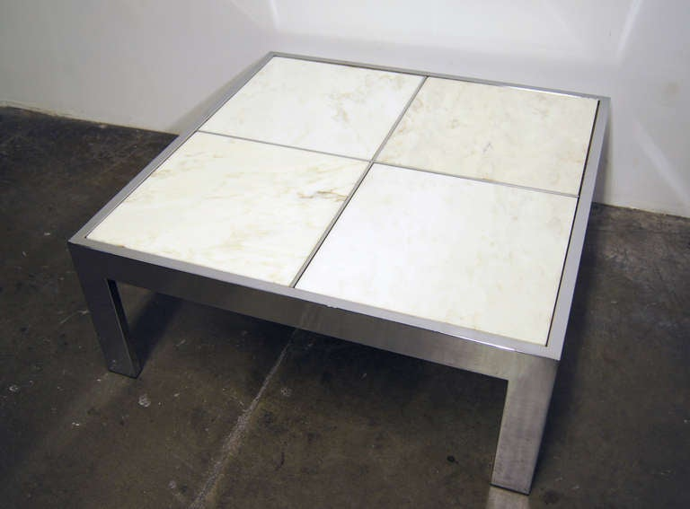 pace collection chrome and marble tile coffee table for sale at