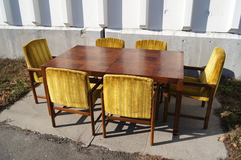 Walnut burl wood dining table with six chairs by rapids of