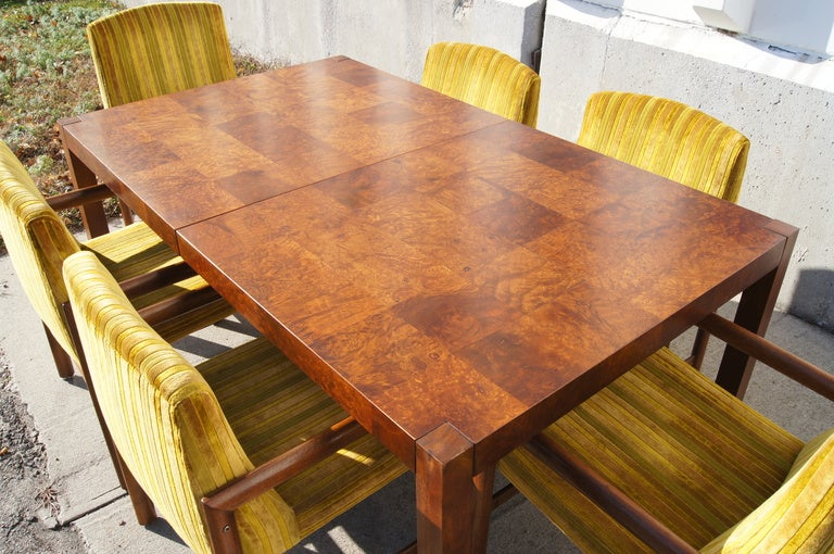 Walnut Burl Wood Dining Table with Six Chairs by Rapids of Boston 3. Walnut Burl Wood Dining Table with Six Chairs by Rapids of Boston