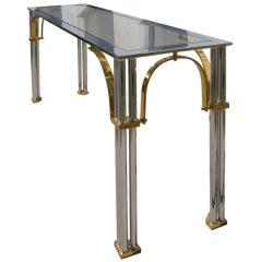 Chrome, Brass and Glass Italian Console Table