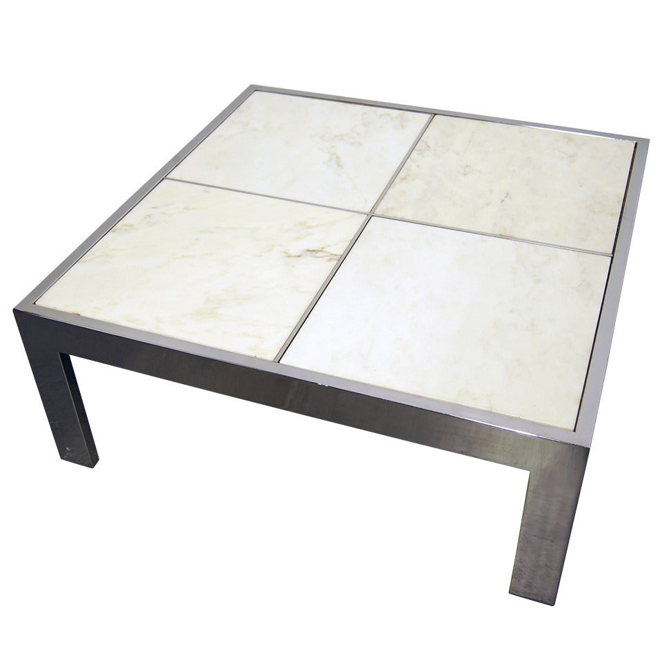 Pace Collection Chrome and Marble Coffee Table