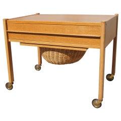 Oak and Wicker Danish Modern Rolling Sewing Cart