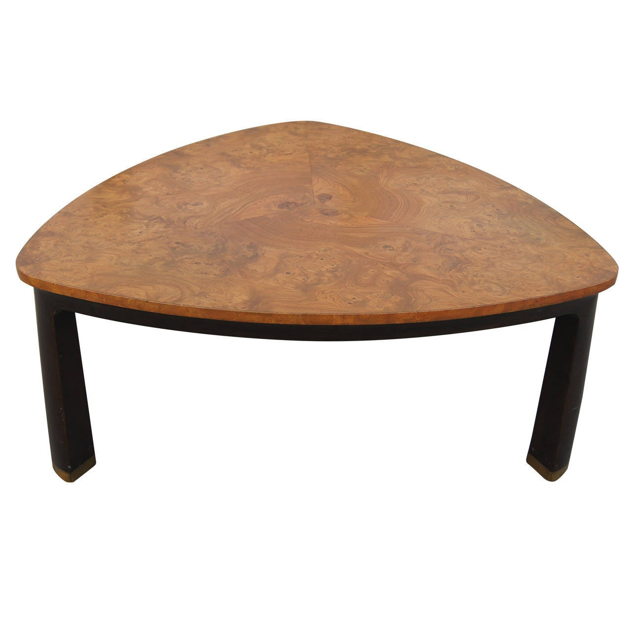 Triangular Burl Wood Coffee Table By Edward Wormley For Dunbar At 1stdibs