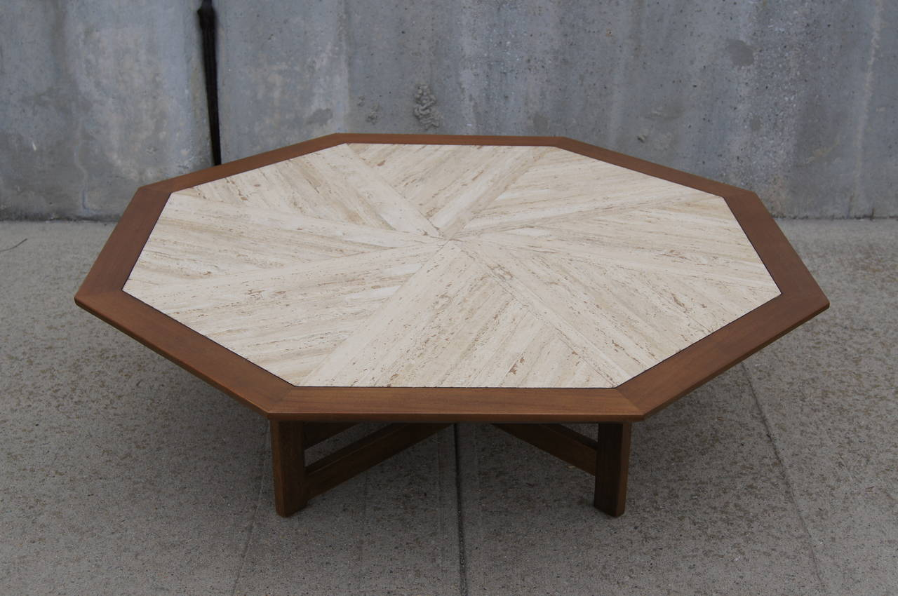 Walnut And Travertine Coffee Table By Harvey Probber 2