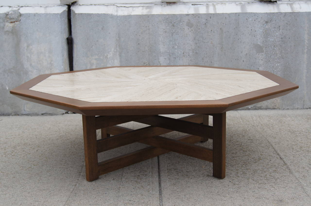 Walnut And Travertine Coffee Table By Harvey Probber 3
