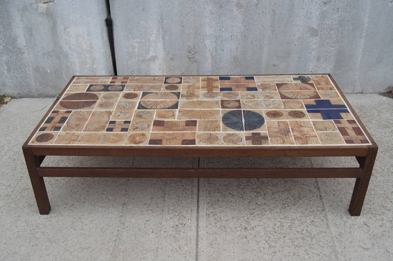 - Coffee Table By Willy Beck With Ceramic Tile-Top By Tue Poulsen At