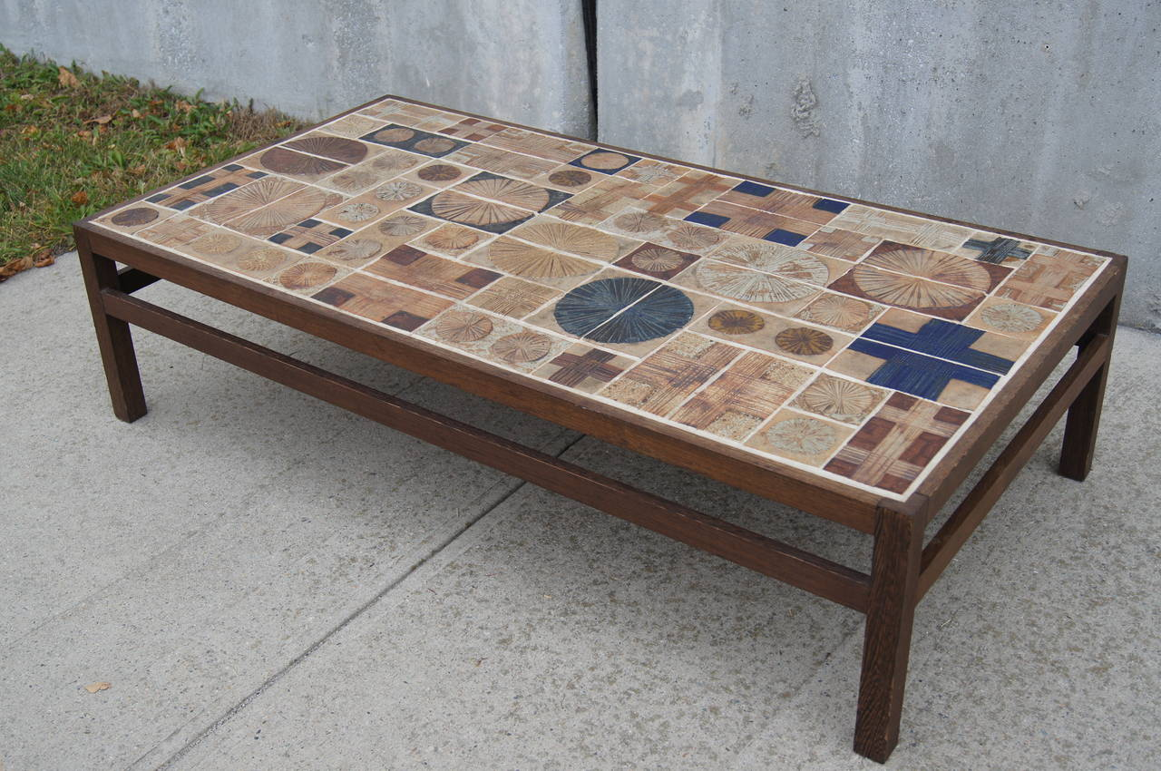 coffee table by willy beck with ceramic tile top by tue. Black Bedroom Furniture Sets. Home Design Ideas