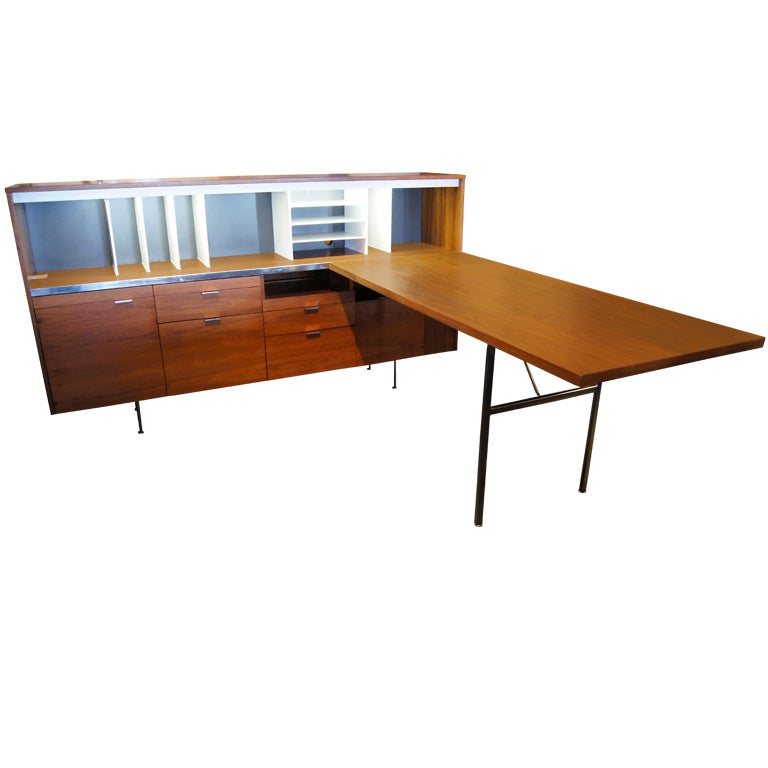 l shaped desk and credenza by george nelson for herman miller at 1stdibs