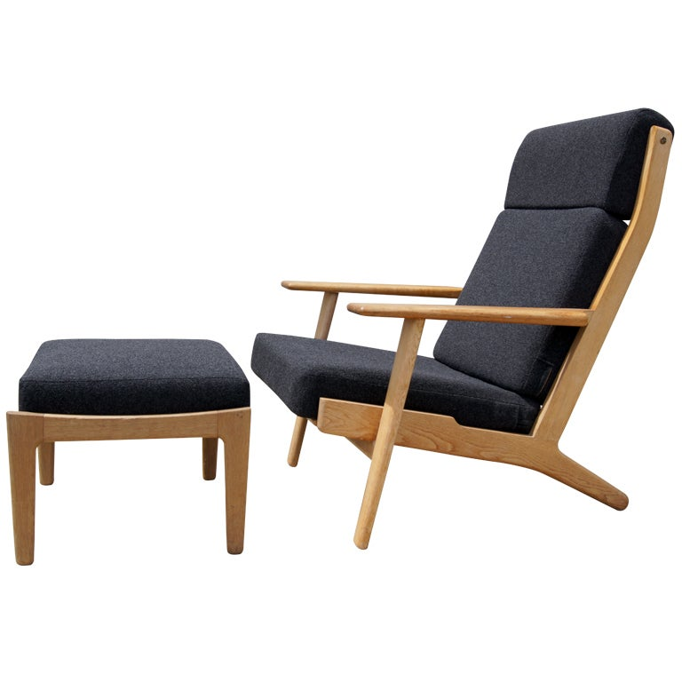 High Back Lounge Chair And Ottoman By Hans Wegner For Getama At 1stdibs