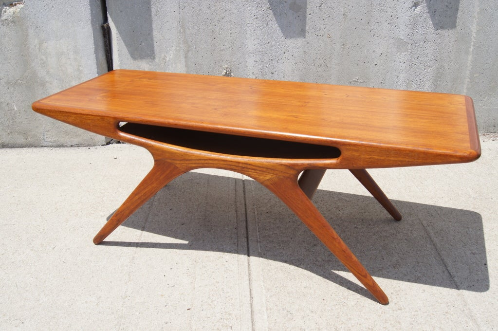 teak smile coffee table by johannes andersen for cfc