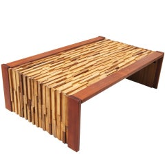 Collapsible Exotic Wood Coffee Table by Percival Lafer