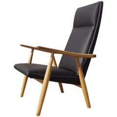 GE-260A High Back Lounge Chair in Leather by Hans Wegner for GETAMA