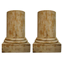 Pair of French Beech Column Pedestal Side Tables