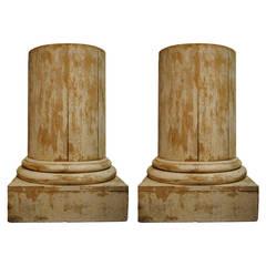 Pair of Beech Column Pedestals