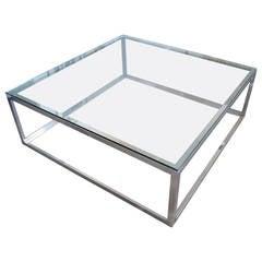 Polished  Aluminum Square Coffee Table