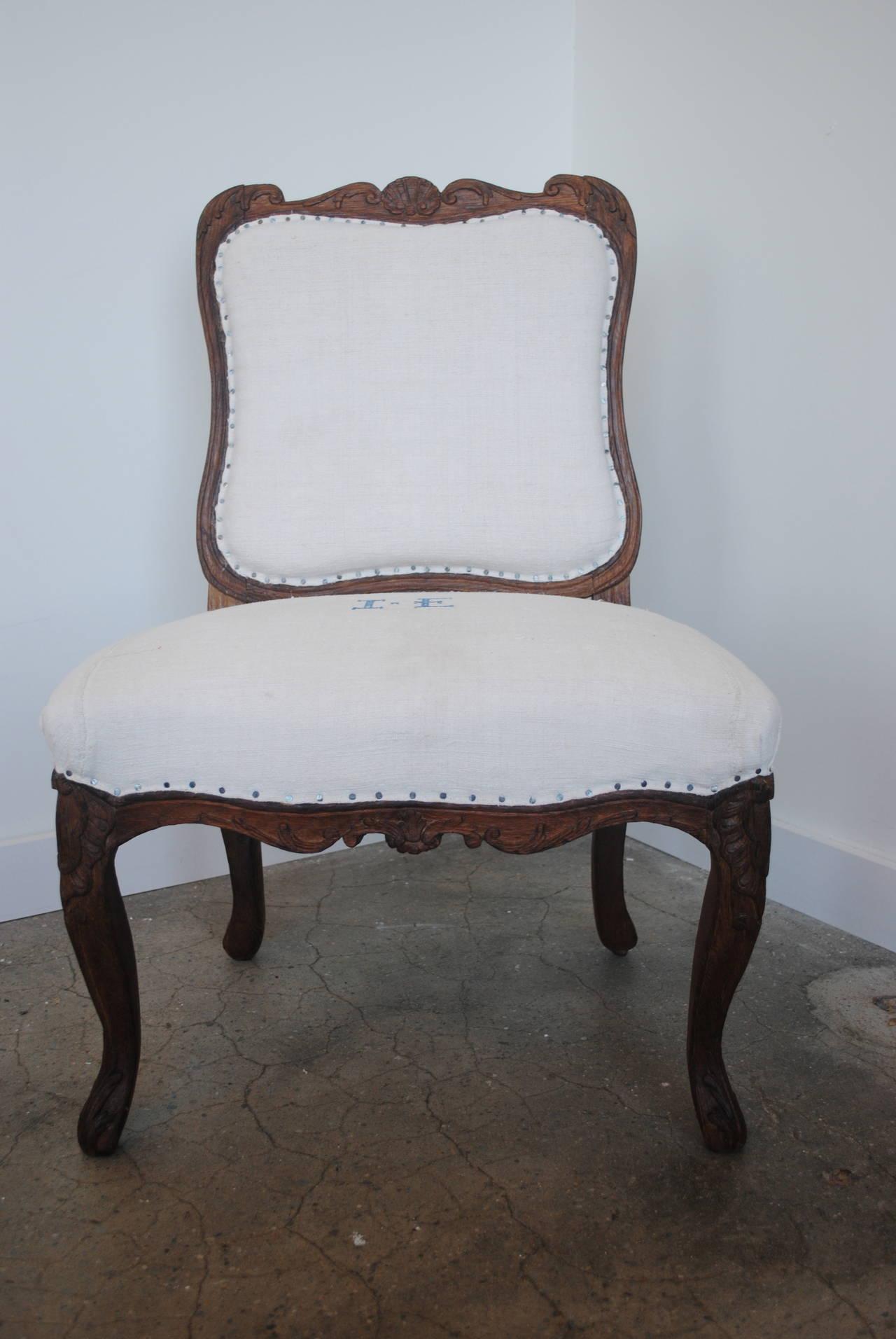Pair of 19th Century Chestnut Slipper Chairs 2