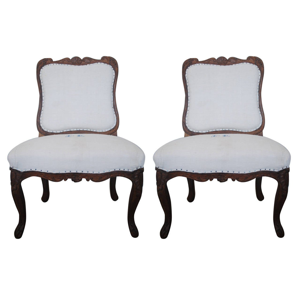 Pair of 19th Century Chestnut Slipper Chairs 1