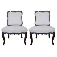 Pair of 19th Century Chestnut Slipper Chairs
