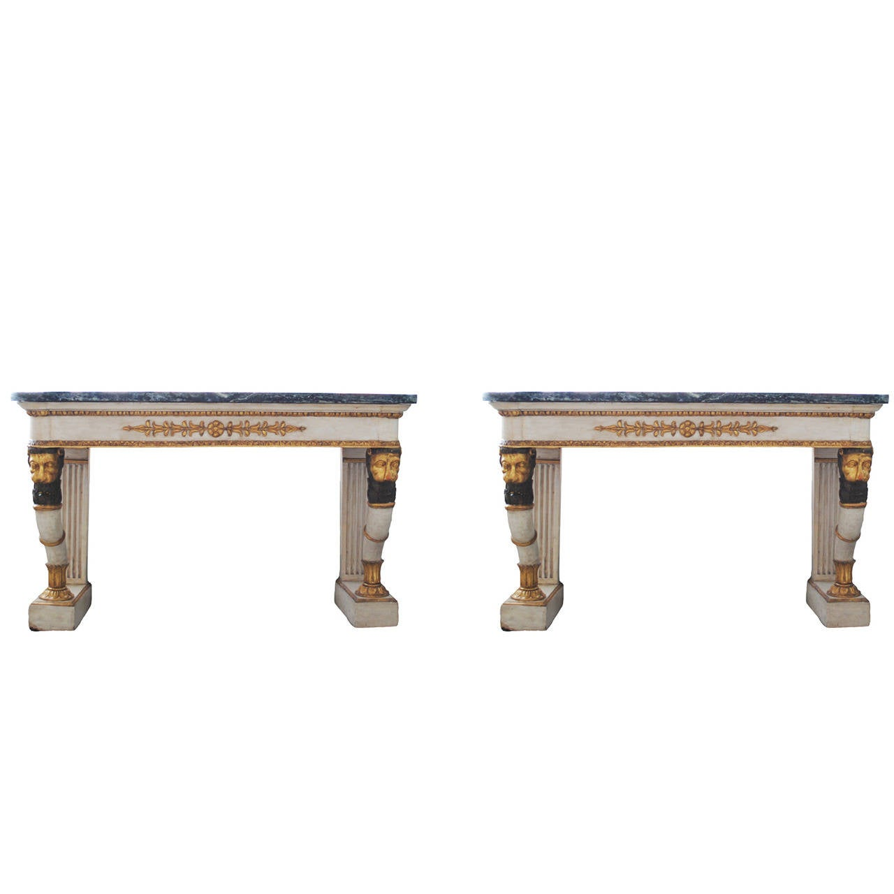 Pair of Neoclassical Painted and Parcel-Gilt Consoles